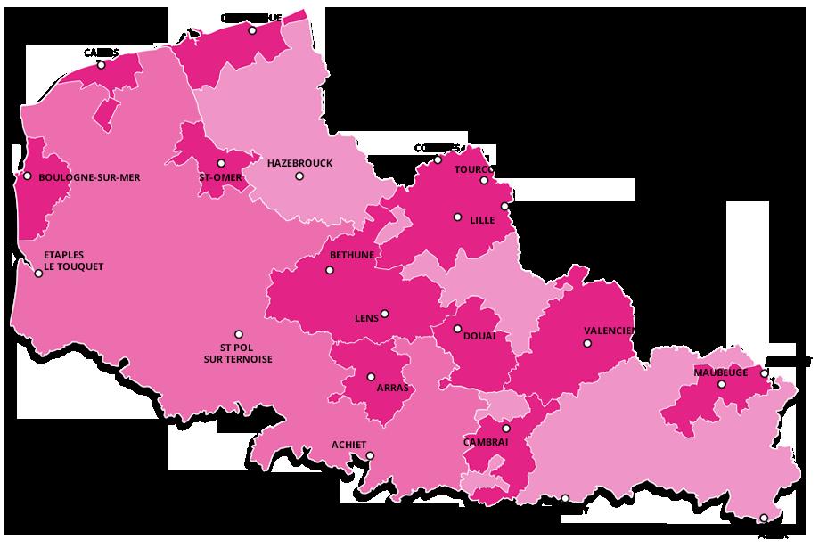 Carte cliquable des départements du Nord et du Pas-de-Calais